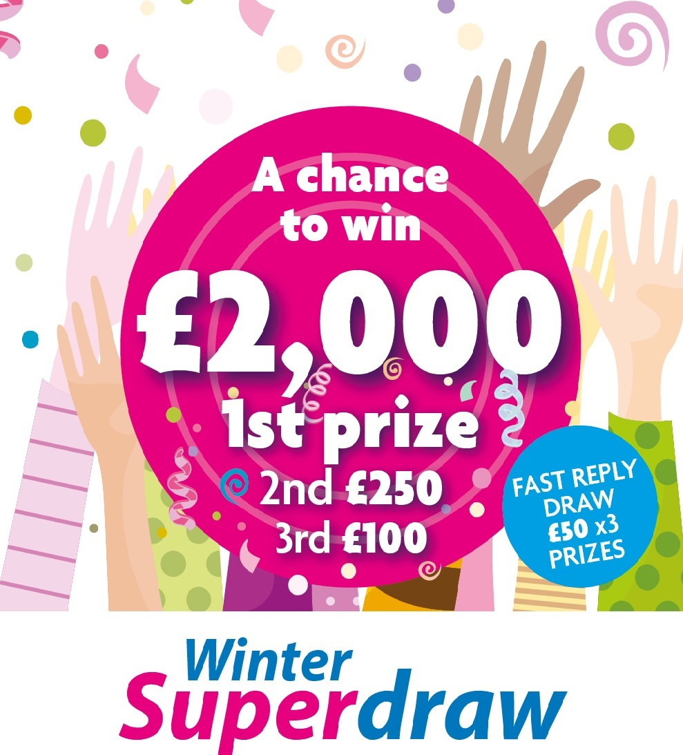 Winter Superdraw Prizes With Hands Background