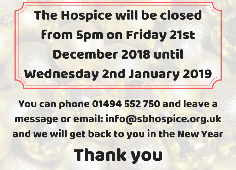 Christmas Opening Hours At The Hospice To Be Pinned